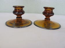 "FOSTORIA ""SHIPS SILVER OVERLAY AMBER PAIR OF SINGLE CANDLESTICK HOLDERS"