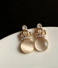 New crown Earrings Ear nail opal 18 Carat Gold Diamond Earrings Jewelry