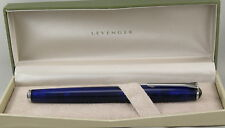 Levenger True Writer Blue Transparent & Chrome Rollerball Pen - New In Box
