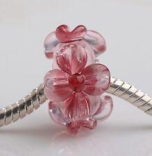 1pcs Big Flowers MURANO GLASS BEAD LAMPWORK Fit European Charm Bracelet QH002