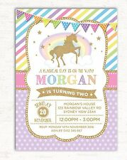 Unicorn Invitation Rainbow First Birthday Party Invite Pink Gold Glitter Girls