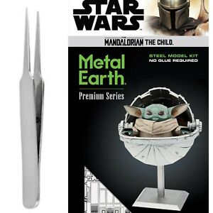 Fascinations Metal Earth Puzzle ICONX Mandalorian The Child Star Wars w/TWEEZER