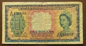 MALAYA AND BRITISH BORNEO 1 dollar 21-3-1953 P1a VF QE II