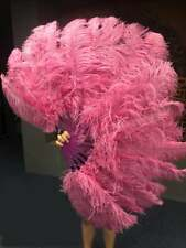 Fuchsia A pair Single layer Ostrich Feather fans with Travel leather Bag