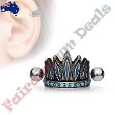 Surgical Steel Antique Silver Plated Helix Cuff Aqua Gem Tribal Chiefs Headdress