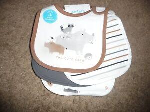 NWT New Carter's Boys 4 Pack Bibs Baby Boy Hippo Raccoon Hedgehog Animals Browns