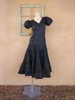 Vintage 1930s Black Taffeta Evening Gown 30s Silk Dress Sz X Small US 0 2