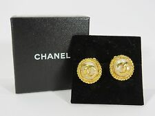 CHANEL VINTAGE Faux Pearl clip on CC Design Earrings RARE  JC