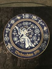 "Hutschenreuther Christmas Plate/Wall Hanging Cobalt Blue White Angel  8.5"" 1996"