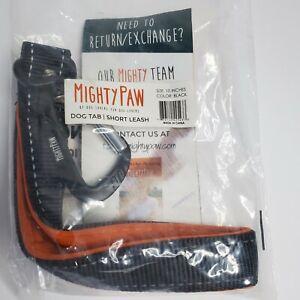 """Mighty Paw Training Tab 10"""" Short Dog Leash Padded Handle Pet Black Orange NEW"""