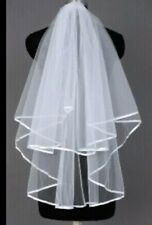 Ivory Bridal Wedding Veil 2 Layers with Comb Elbow Length Ribbon Edge