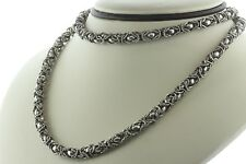Handmade Sterling Silver Rope Link Rounded 6mm Byzantine Chain Necklace - 30""
