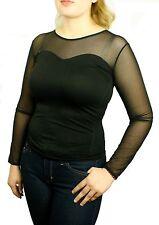Seamless Sheer Long Sleeve Mesh Sweetheart Neckline Blouse Top Shirt Only $6.99