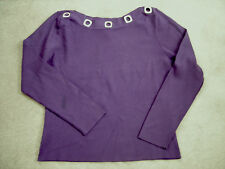 COLOR WORKS EGGPLANT PURPLE WOMEN'S SWEATER SIZE M/L SILVER ACCENTS!  MUST SEE!