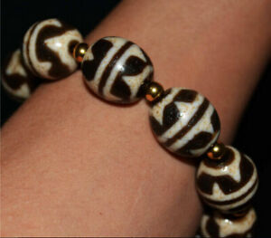 "tibetan water wave dzi bead old amulet antique ""tiger-tooth"" bracelet gzi mala"