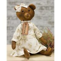 "Antique Style HENRIETTA BEAR DOLL Fabric Dress Aged 16"" Vintage Look Primitive"