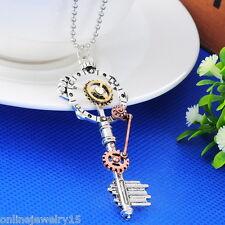 Jewelry15 Retro Steampunk Necklace Silver Key Pendant Gears Unisex Distinctive