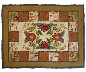 LATE 19TH-EARLY 20TH C AMERICAN ANTIQUE FOLK ART HOOKED WOOL RUG, TEXTILE ART