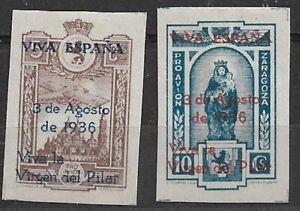 Sellos Locales Zaragoza 1936 Sofima nº 9/10 MH