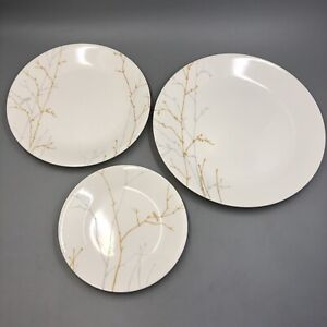 Market Street New York by Corelle Gilded Woods 3-Piece Round Place Setting Gold