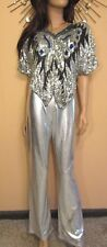 True Vtg 70s Butterfly Sequin Silk Disco Top Blouse + Silver Bell Bottom Pants M