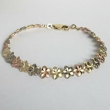 Womans 14k yellow white rose gold diamond cut flower Bracelet 7.25 Inches Long