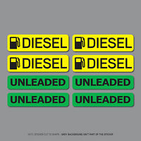 SKU2559 - 8 x Diesel & Unleaded Fuel Reminder Stickers - Car - Truck - Bus - Van