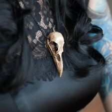 Gothic Necklace,3D Resin Raven Skull Necklace,Victorian Vintage Necklace