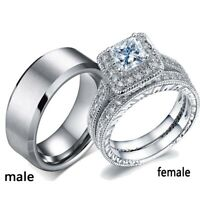 2 Rings Couple Rings 316L Stainless Steel Mens Wedding Band CZ Women's Ring Sets