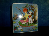 Vintage RINGTONS TEA BISCUIT TIN Pre-barcode - Stitch effect lid: boy puppy pond