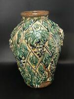 "Vintage Grapes & Lattice Majolica Pottery Large Vase 12"" Tall"
