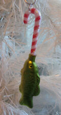 Wide Mouth Bass Fish CANDY CANE Unique Handcraft CHRISTMAS Ornament Nora Winn