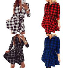 Damen Bluse Longshirt Shirt Kleid Mini Kleid Tunika Hemdkleid 3/4 Arm Karo S-2XL