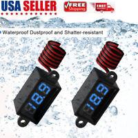 2pcs Waterproof DC Voltmeter 3.0V-30V Voltage Display Tester Meter 2 Colours