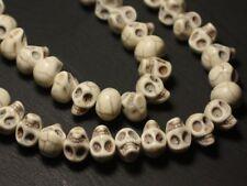 10pc - Perles Crânes Têtes de Mort Turquoise Synthèse 14mm Blanc  4558550030245