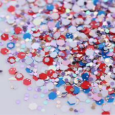 Christmas Colors Hexagon Nail Art Glitter Tips Sequins Decoration Manicure Mix
