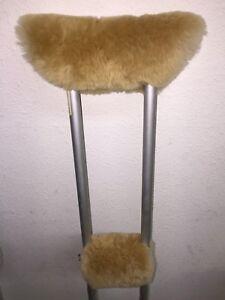 Real Merino Sheepskin UNDER ARM Crutch Pad Covers + Crutches HAND GRIP Pads USA