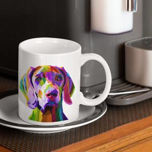 Weimaraner Dog Abstract Pop Art 11oz Ceramic Mug Printed Both Sides Puppy