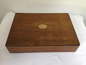 Vintage Empty Wooden Oak Cutlery Box Canteen With Key