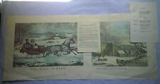 """CURRIER AND IVES """"THE FARM-YARD IN WINTER"""" & """"THE ROAD - WINTER"""" Reproductions"""
