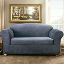 New In package Sure Fit Stretch Stripe 2-Piece Sofa Slipcover navy