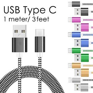 USB C Type-C Cable Braided Fast Charger Sync Charging Cord - 3 Feet