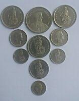 Lot de 10 pièces Suisse, de 1969 à 2005. TBE.
