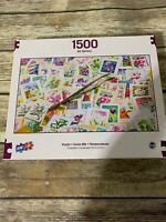 Sure-Lox 1500 Piece Jigsaw Puzzle Stamps Flowers Stamp Collecting NEW Sealed