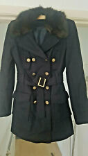 Redherring Navy Coat with Detachable Faux Fur Collar Gold Toned Buttons Size 8
