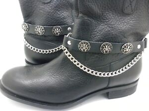 Boot Straps W Chain Spiders Black Leather Motorcycle Buckle Women's Men's PAIR