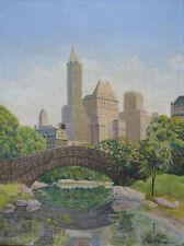 RENE SCHMITT (XXEME) VUE DE NEW YORK CENTRAL PARK GAPSTOW BRIDGE HUILE VERS 1930
