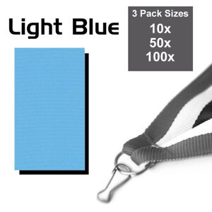 PACK OF 10x LIGHT BLUE MEDAL RIBBONS WITH CLIPS, WOVEN 22mm WIDE, 3 PACK SIZES