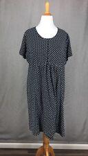 Knit Dress 2X Black Polka Dot Dress 47-1402-8 White Stretch 22W ELLOS Shift