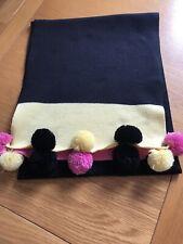 Black Wool Pom Pom Scarf